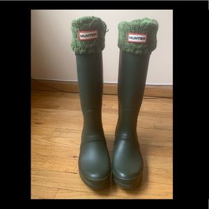 HUNTER Original Tall Slim Rain Boots- Women Size 9